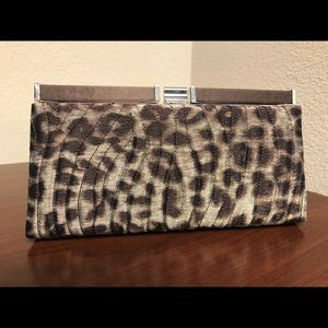 NEW!! Kate Landry Leopard Snap Clutch with strap